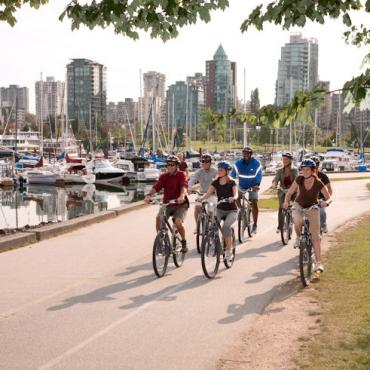 YVR Group Cycling on the Seawall