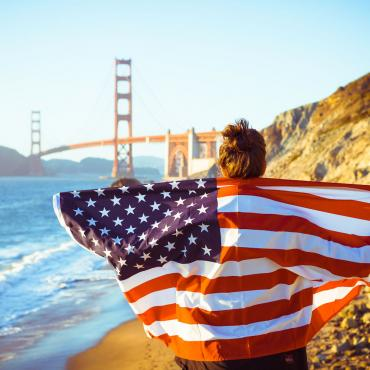 Golden Gate bridge flag iStock-463306131med