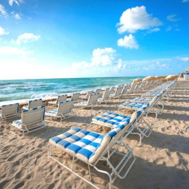 Beach lounge chairs Photo courtesy of the Greater Miami Convention & Visitors Bureau.