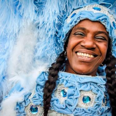 MSY Mardi Gras blue costume by Pableaux Johnson Photo Courtesy of New Orleans CVB web
