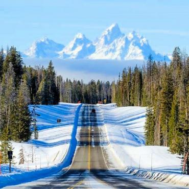 WY Jackson hole snowy road
