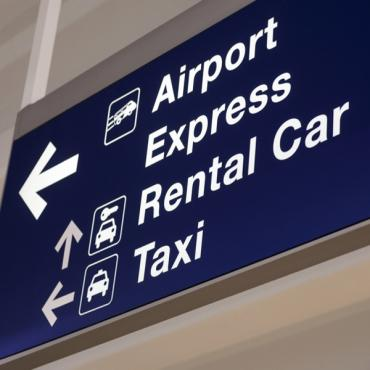 Overhead airport signage