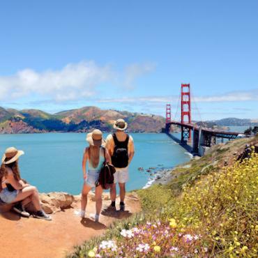 Family viewing Golden Gate Bridge