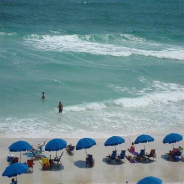 Aerial view umbrellas Destin Beach