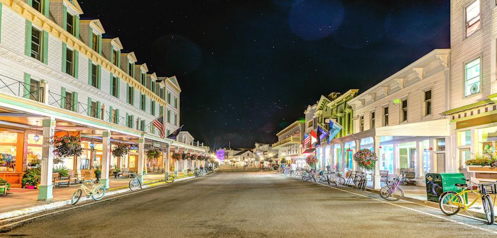 Michigan Mackiniac Island Downtown at night Photo Credit Mackinac Island CVB