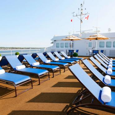 Victory Cruises Top deck sunloungers