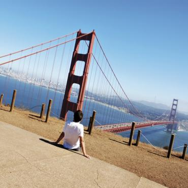 Boy at Golden Gate Bridge SFO