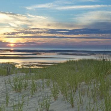 Sunset over Cape cod beach
