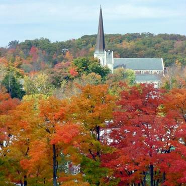 August church steeple and fall foliage ME