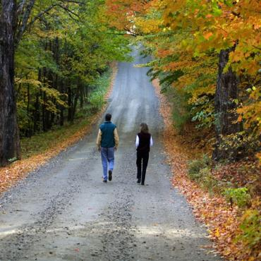 stroll down road with fall foliage VT