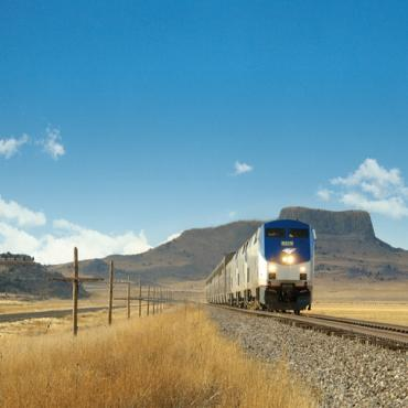 Amtrak train in countryside