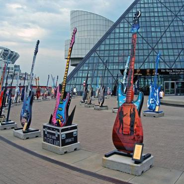 Guitars at Rock & Roll museum Cleveland OH