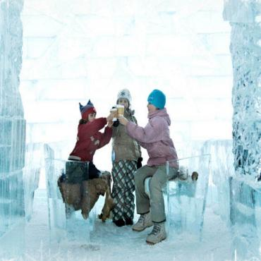 Kids at Hotel de Glace Quebec
