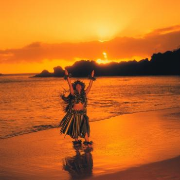Hawaiin girl sunset beach