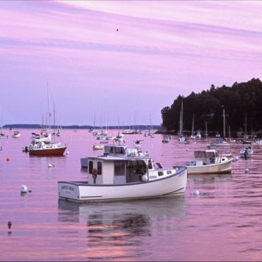 New England ME Pink Sunset at Rockport Harbor, ME