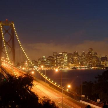 SFO night skyline and bridge