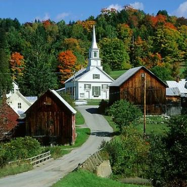 VT Village and fall foliage