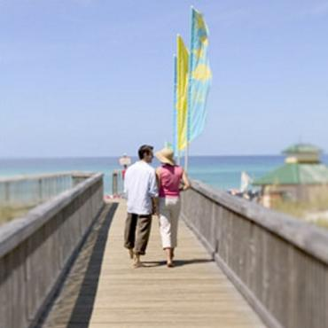 Couple on pier to beach